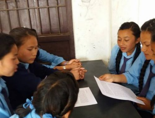 Village Earth Affiliate ICA-Nepal educates school girls on menstrual hygiene.