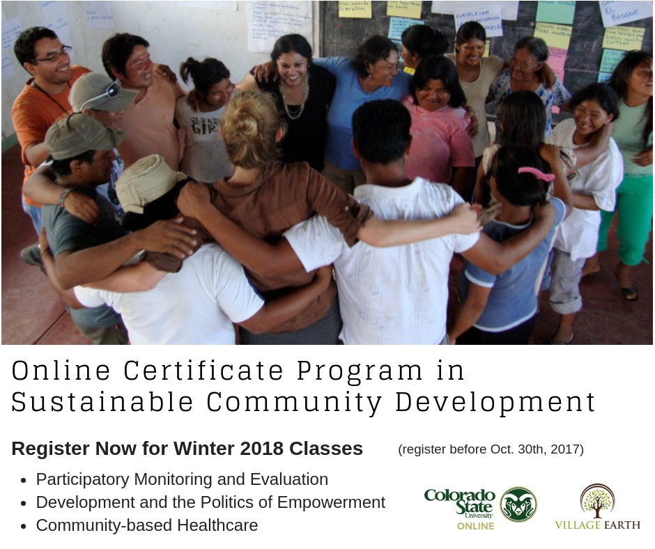 Spring II Courses in the VE/CSU Online Certificate Program in Sustainable Community Development
